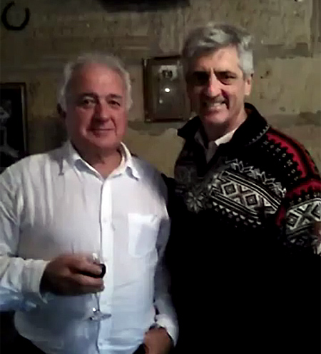 Alan Leek with Richard de Crespigny at the Settler's Arms, St. Alban's